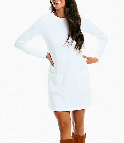 Southern Tide Crew Neck Long Sleeve Stephanie Quilted Knit Shift Dress