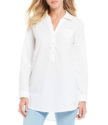 Southern Tide Kasey Button Front Long Sleeve Seersucker Tunic Top
