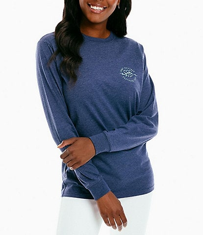 Southern Tide Knit Camp Graphic Back Fire Crew Neck Long Sleeve Tee