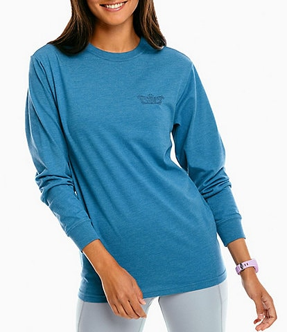 Southern Tide Knit Floral Back Graphic Crew Neck Long Sleeve Tee