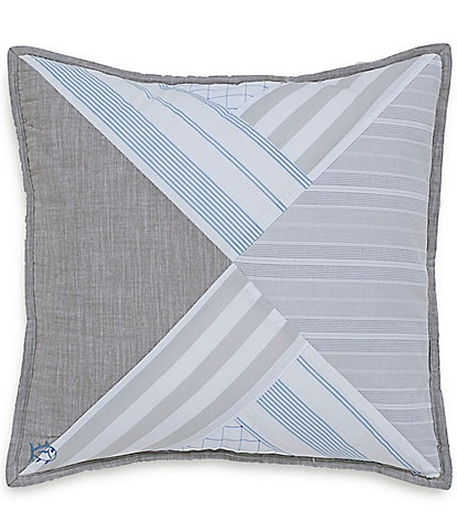 Southern Tide Nautical Mile Patchwork Square Pillow