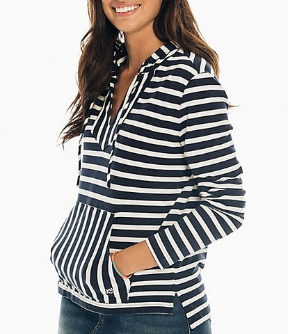 Southern Tide Navy Striped Paiton Hoodie