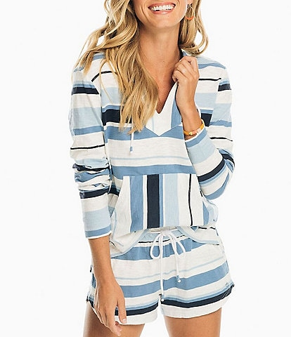 Southern Tide Paiton Striped V-Neck Long Sleeve Hoodie