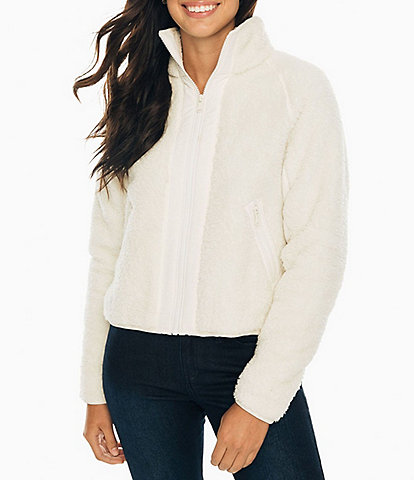 Southern Tide Phoenix Zip-Front Fleece Knit Cropped Jacket