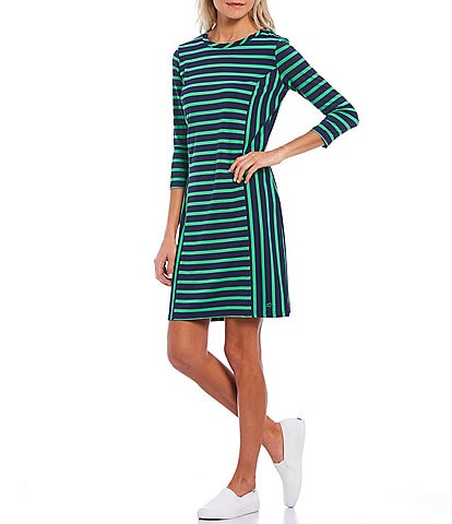 Southern Tide Pippa Contrast Stripe Performance Knit Jersey UPF Protection 3/4 Sleeve Shift Dress