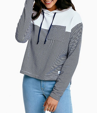 Southern Tide Ruthie Long Sleeve Pocketed Cropped Stripe Hoodie