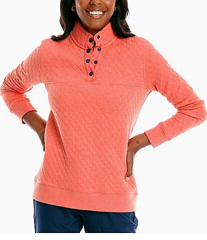 Southern Tide Stand Collar Long Sleeve Quilted Makenzie Pullover