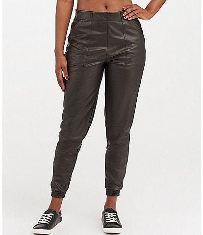 Spanx Vegan Leather-Like Mid Rise Stretch Joggers
