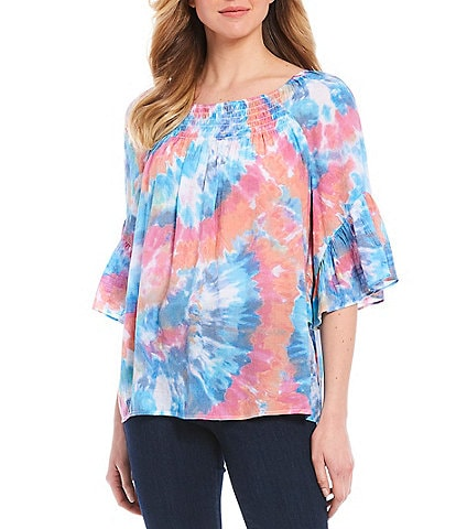 Spense Radial Tie-Dye Print Ruffle Sleeve Smock Yoke Detail Top