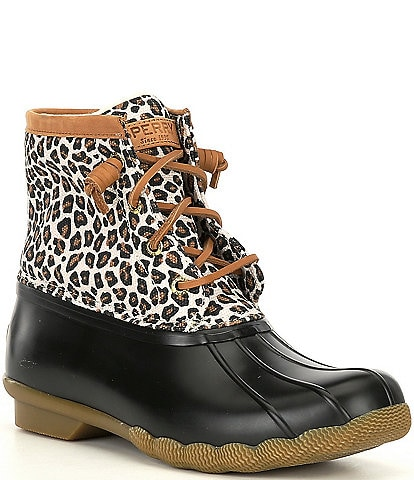 Sperry Saltwater Animal Print Textile Winter Rain Booties