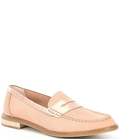 Sperry Seaport Penny Plushwave Metallic Leather Loafers