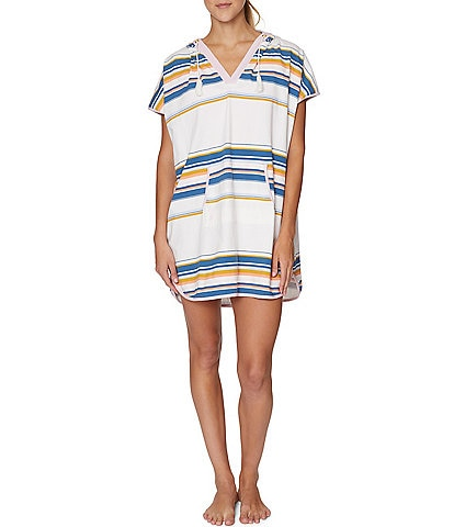 Sperry Stacy Striped V-Neck Hooded Cover Up Dress