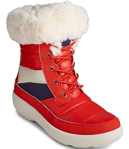 Sperry Women's Bearing Plushwave Colorblock Faux Fur Winter Boots