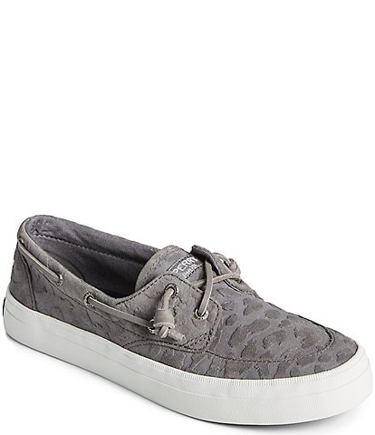 Sperry Women's Crest Boat Tonal Cheetah Embossed Suede Boat Shoes