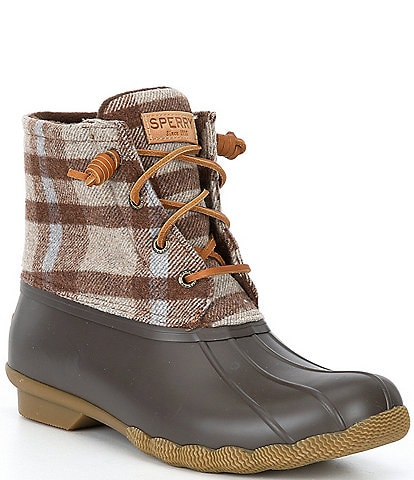 Sperry Women's Saltwater Plaid Wool Winter Duck Boots