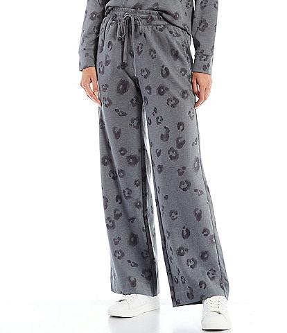 Splendid Animal Print Eco Wide Leg Knit Drawstring Coordinating Pants