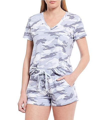 Splendid Camouflaged-Printed Jersey Knit Shorty Pajama Set