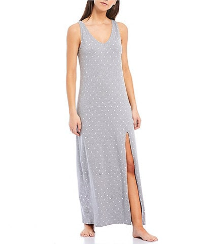Splendid Dot Print Jersey Knit Midi Nightgown