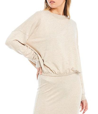 Splendid Knit Long Sleeve Jewel Neck Bubble Pullover