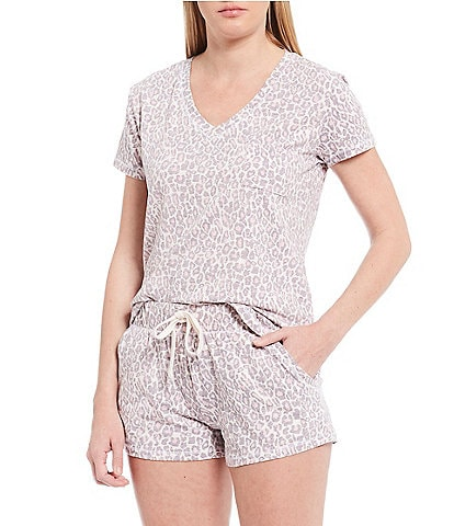 Splendid Leopard-Printed Jersey Knit Shorty Pajama Set