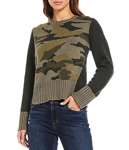 Splendid Mally Long Sleeve Crew Neck Camouflage Print Statement Sweater
