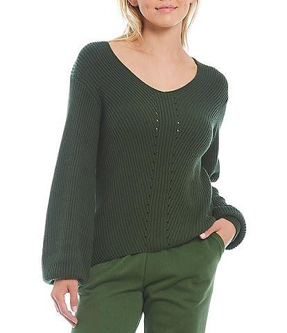 Splendid Long Sleeve V-Neck Pullover Sweater