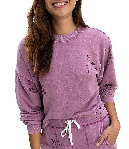 Splendid Love Me Long Sleeve Crew Neck Pullover Knit Sweatshirt