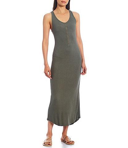 Splendid Raven Henley Scoop Neckline Sleeveless Sheath Maxi Dress