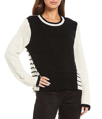 Splendid Stripe Color Block Long Sleeve Crew Neck Mally Statement Sweater