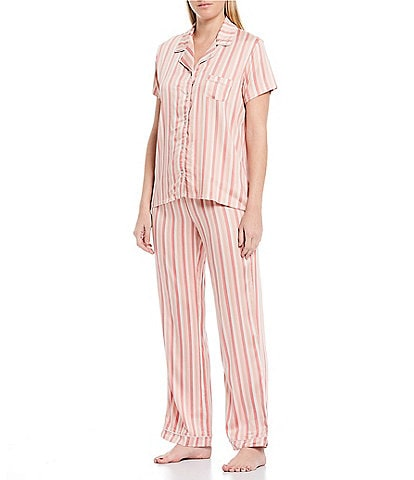 Splendid Striped-Print Woven Pajama Set