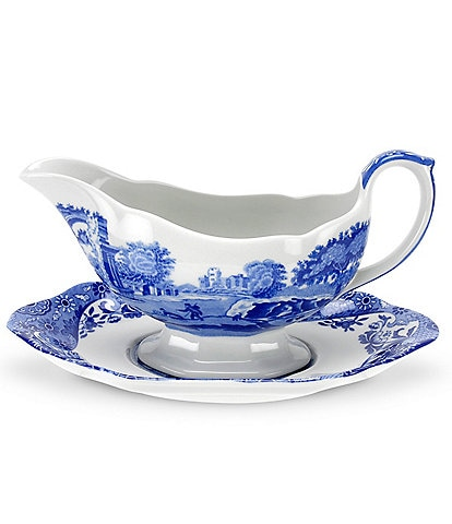 Spode Blue Italian Sauce Boat with Stand