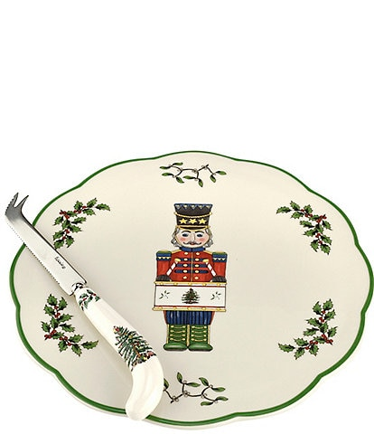 Spode Christmas Tree 2019 Nutcracker Cheese Plate with Knife