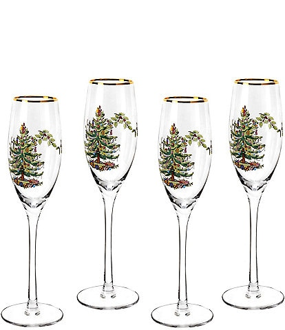 Spode Christmas Tree Champagne Fluted Glasses Set of 4