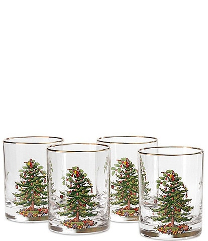 Spode Christmas Tree Double Old-fashioned Glasses, Set of 4