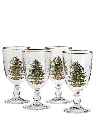 Spode Christmas Tree Pedestal Goblets Set of 4