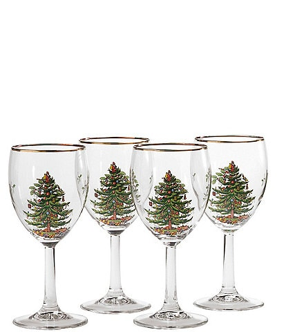 Spode Christmas Tree Wine Glasses Set of 4