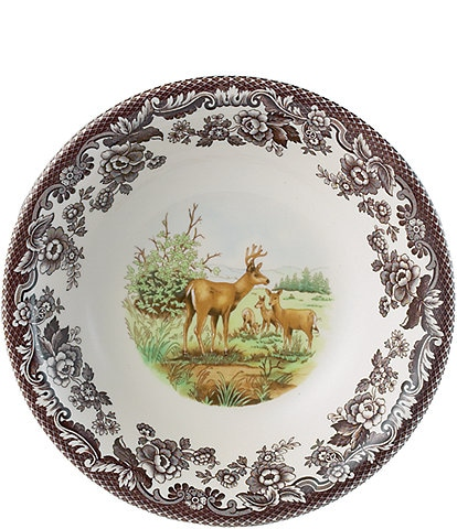 Spode Festive Fall Collection Woodland American Wildlife Mule Deer Cereal Bowl