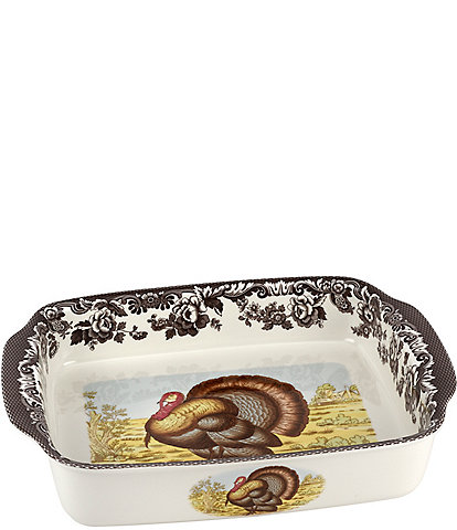 Spode Festive Fall Collection Woodland Handled Turkey Lasagna Dish