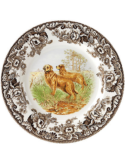 Spode Festive Fall Collection Woodland Hunting Dogs Gold Retriever Salad Plate