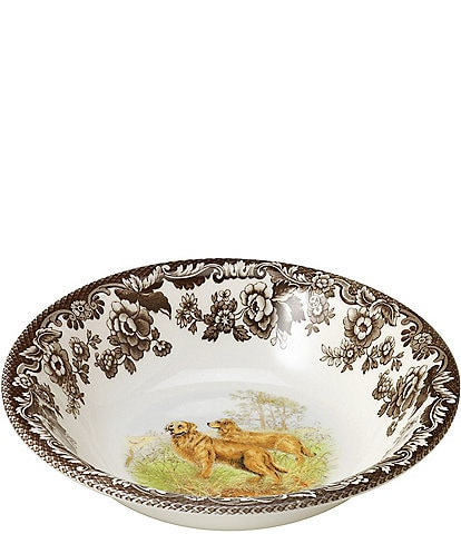 Spode Festive Fall Collection Woodland Hunting Dogs Golden Retriever Ascot Cereal Bowl