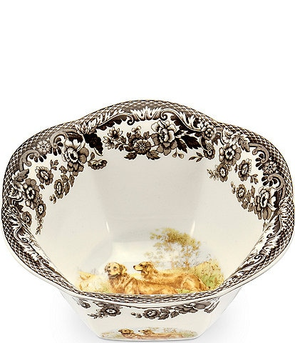 Spode Festive Fall Collection Woodland Hunting Dogs Golden Retriever Nut Bowl