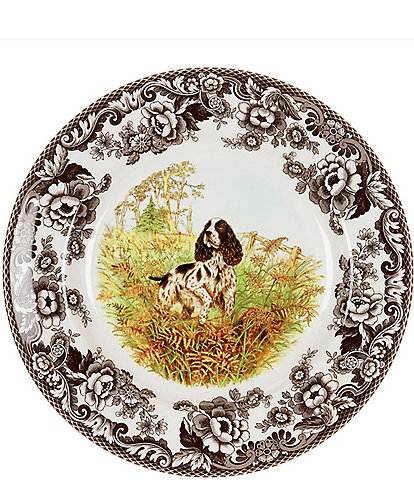 Spode Festive Fall Collection Woodland Hunting Dogs Spaniel Salad Plate