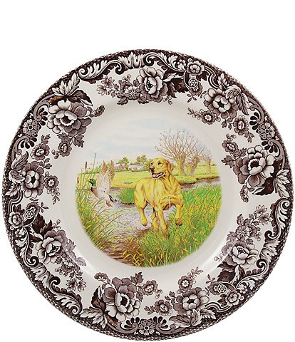 Spode Festive Fall Collection Woodland Hunting Dogs Yellow Labrador Retriever Dinner Plate