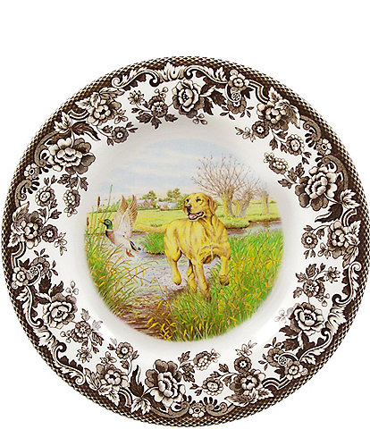 Spode Festive Fall Collection Woodland Hunting Dogs Yellow Labrador Retriever Salad Plate