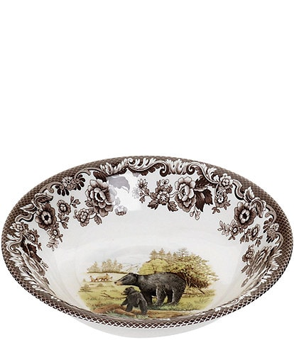 Spode Festive Fall Woodland American Wildlife Black Bear Cereal Bowl