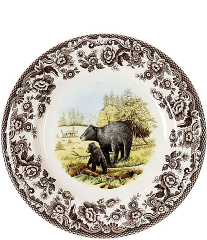 Spode Festive Fall Woodland American Wildlife Black Bear Salad Plate