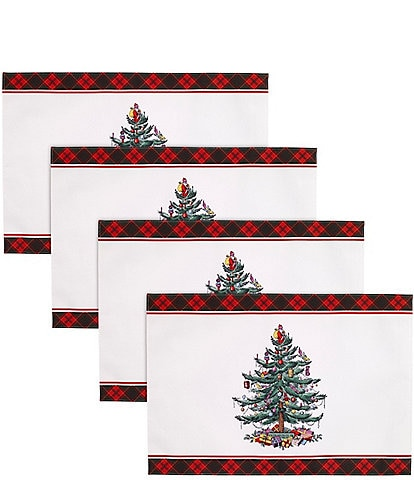 Spode Holiday Tartan Collection Christmas Tree Placemats, Set of 4