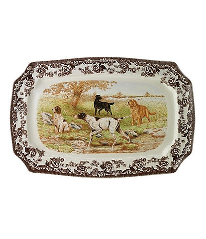 Spode Festive Fall Collection Woodland Hunting Dogs Rectangular Platter