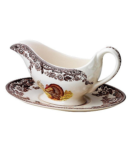 Spode Festive Fall Collection Woodland Turkey Gravy Boat & Stand