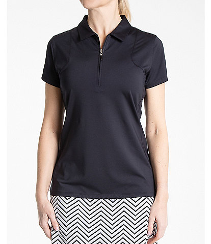 Sport Haley Aria Short Sleeve Point Collar Solid Polo Top
